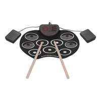 Portable Electronic Drum Set USB Roll Up Drum Pad Kit 9 Drumpads Built-in Speaker Lithium Battery with Sticks and Foot Pedals Digital Percussion Instruments