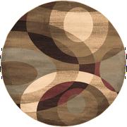 8' Elegant Orbits Burgundy and Khaki Shed-Free Round Area Throw Rug