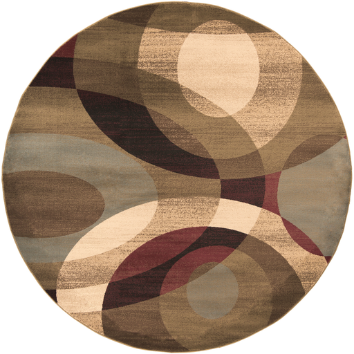 8' Elegant Orbits Burgundy and Khaki Shed-Free Round Area Throw Rug