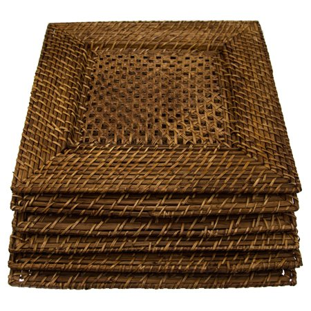 (6 Pack Bamboo & Rattan 14 Square Charger Plates By Malacca Elements Dinner Servers)