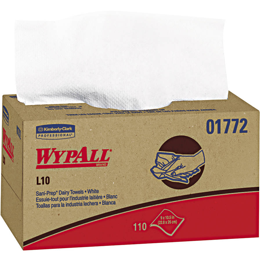 Kimberly-Clark Professional WypAll Sani-Prep Dairy Towels, L10, White, 110 count, (Pack of 18)