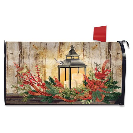 Holiday Lantern Christmas Magnetic Mailbox Cover Rustic Cardinals Standard ()