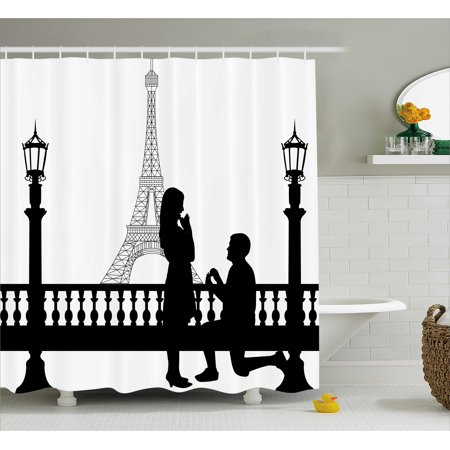 Engagement Party Decorations Shower Curtain  Paris Lovers City Wedding Proposal For Great Future Image  Fabric Bathroom Set With Hooks  69W X 70L Inches  Black And White  By Ambesonne