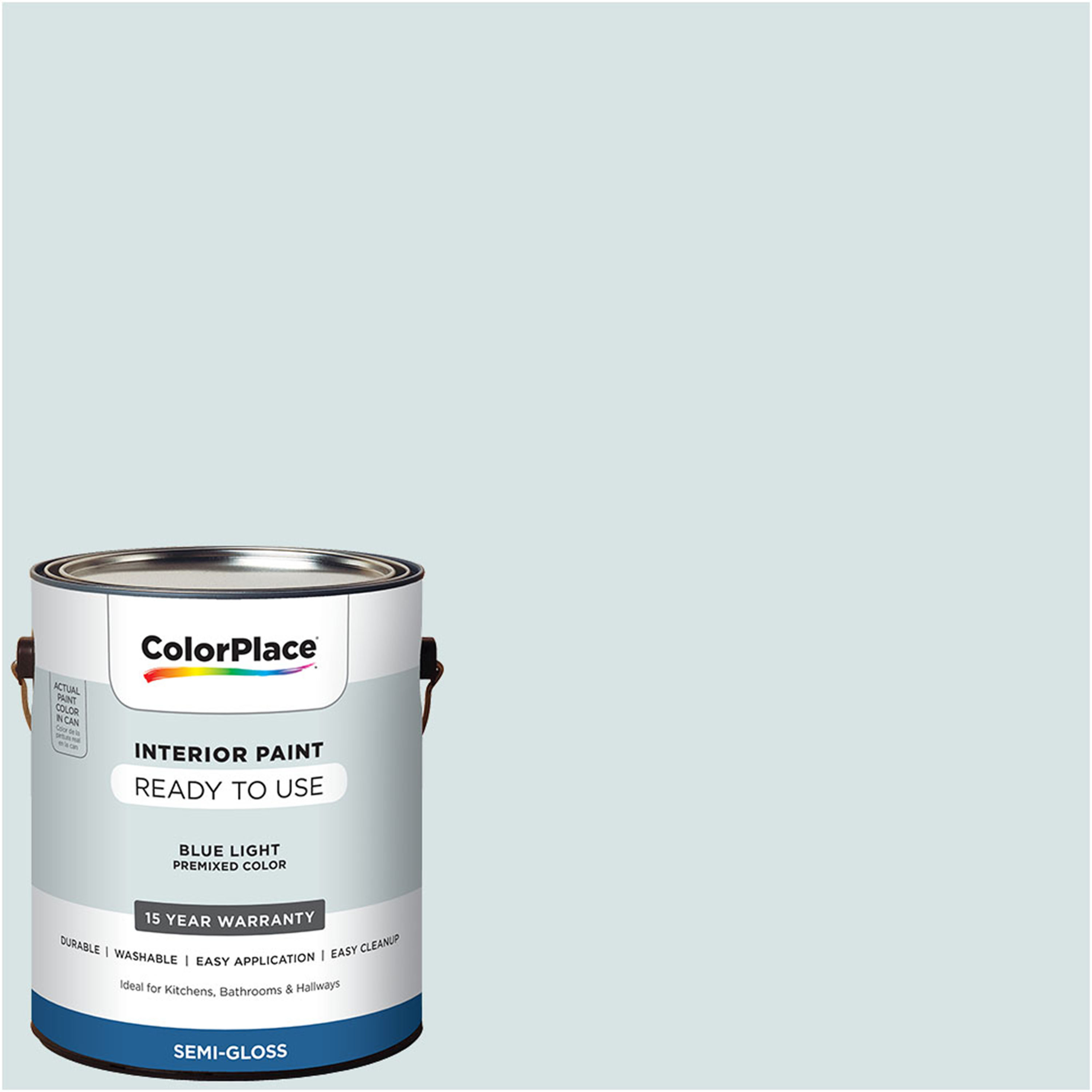 ColorPlace Pre Mixed Ready To Use, Interior Paint, Blue Light, Semi-Gloss Finish, 1 Gallon