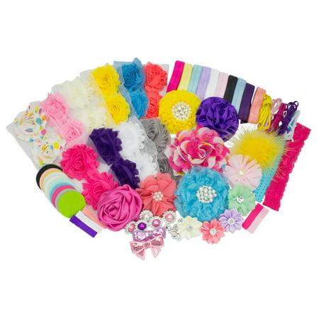 Baby Shower Headband Station DIY Kit by JLIKA - Make 32 Headbands and 5 Clips - DIY Hair Bow Kit - Birthday Party Collection - Diy Headband Kit