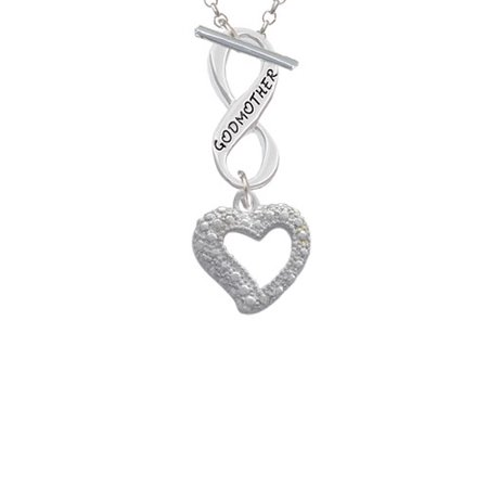 (Textured Open Heart Godmother Infinity Toggle Chain Necklace)