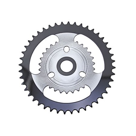 Lowrider Chrome/Black Steel Sprocket ZT9A 1/2 X 1/8 44t. Bike Part, Bicycle Part, Bike Accessory, Bicycle Part