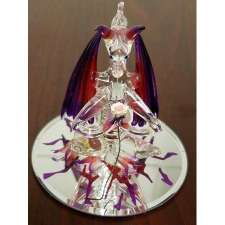 Blown Glass Rose - CHRISTMAS HAND BLOWN GLASS FIGURINE DRAGON & ROSE ANIMALS GLASS MINIATURE PAINT