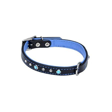 Stone Dot (coastal pet products circle t fashion leather dog collar with jewels, 5/8 x 14,)