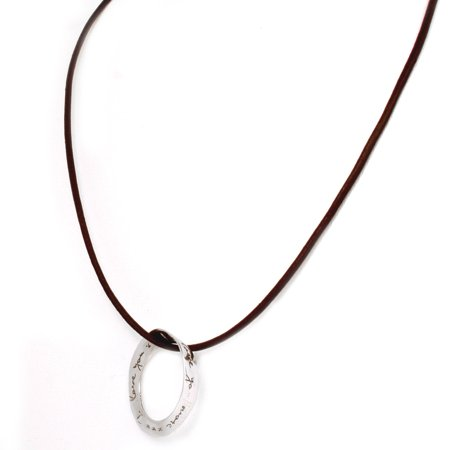 I love you more mobius, eternity circle of love, sterling Silver pendant with brown leather necklace, message jewelry