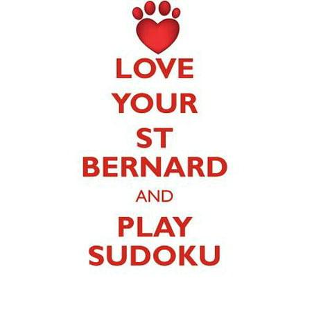 Love Your St Bernard and Play Sudoku Saint Bernard Dog Sudoku Level 1 of 15