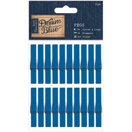 Papermania Denim Blue Pegs, 20pk, Clothespins - Blue Clothespins