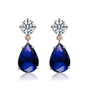 Collette Z  Sterling Silver Clear & Dark Blue Cubic Zirconia Dangling Earrings