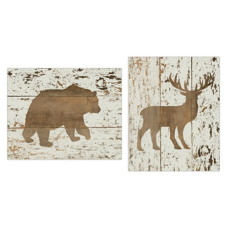 Rustic Cream and Brown Deer and Bear Set; Cabin Lodge Decor; Two 11x14in Unframed Paper Posters (Printed On Paper, Not