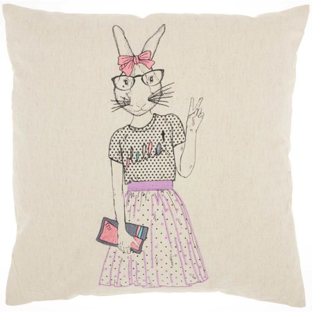 Nourison Trendy, Hip, & New Age Cute Peace Bunny Decorative Throw Pillow, 18