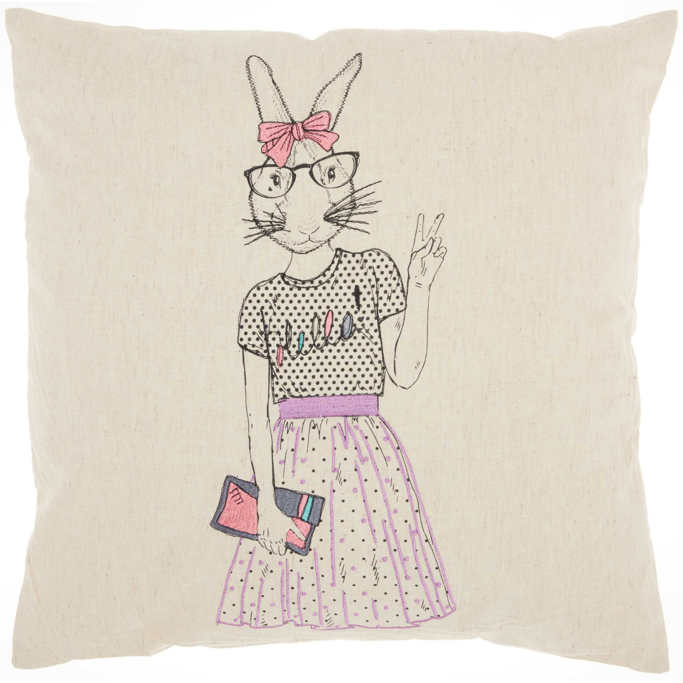 "Nourison Trendy, Hip, & New Age Cute Peace Bunny Decorative Throw Pillow, 18"" x 18"", Natural"