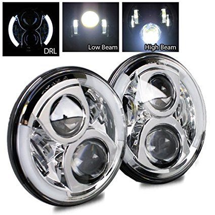 Chrome Halo Led (New world Motoring 7 Inch Round Hi/Lo beam CREE LED 80W Chrome Headlight with Halo Angle Eyes and DRL Halo for 97-15 Jeep Wrangler JK TJ LJ - 1)