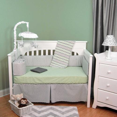 Zig Zag Green & Gray Chevron 5 Piece Baby Crib Bedding Set with Bumper