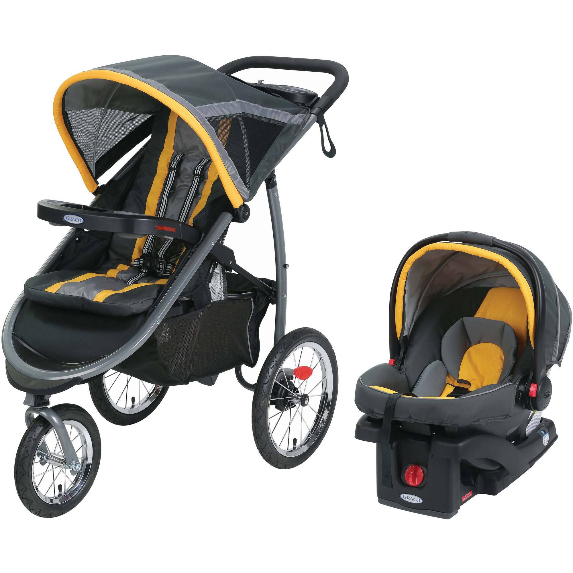 Graco FastAction Jogger Travel System with SnugRide Click Connect 35 Elite Car Seat, Sunshine
