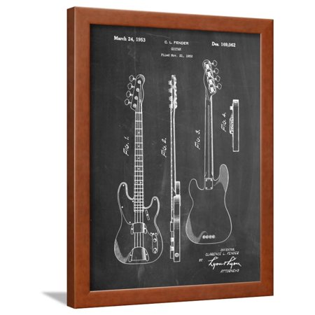 Fender Precision Bass Guitar Patent Framed Print Wall Art By Cole Borders