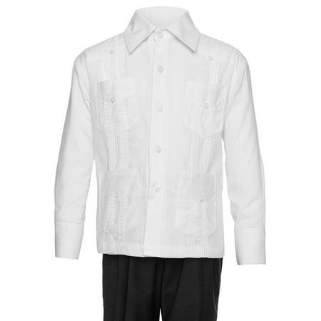 Gentlemens Collection Big Boy's Little boys Long Sleeve/Short Sleeve Linen Look Guayabera Shirt Gentlemens Collection