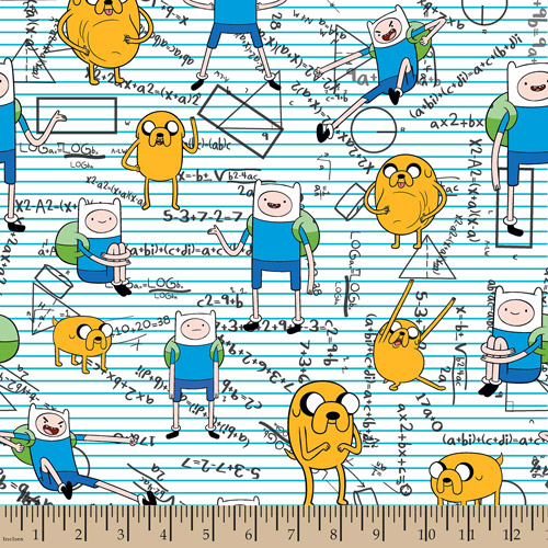 "Cartoon Network, Finn And Jake Mathematical, Flannel, Blue, 42/43"" Wide Fabric by the Yard"
