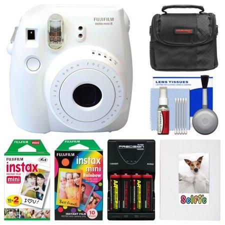 Fujifilm Instax Mini 8 Instant Film Camera (White) with Photo Album + Instant Film & Rainbow Film + Case + Batteries & Charger Kit
