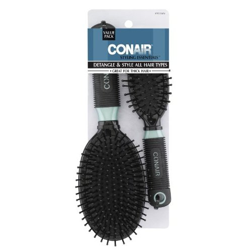 Conair Professional Full and Mid Size Nylon Cushion Brush Set, Assorted Colors
