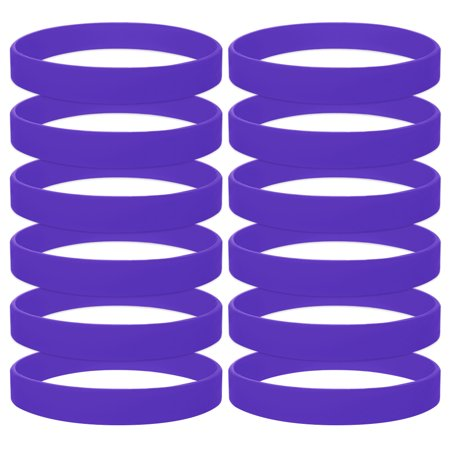 GOGO 12PCS Rubber Bracelets for Kids Silicone Rubber Wrist Bands For Events Party Favors - Purple ()