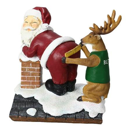 Reindeer Blitzen Measuring Santa to Fit Chimney Christmas Holiday Tabletop Decor](Santa Chimney)