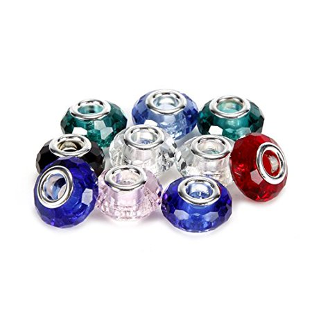 BRCbeads 10Pcs Mix Silver Plated 98 Cutting Faceted Glass Beads Murano Lampwork European Crystal Charms Spacers Fit Pandora Troll Chamilia Carlo Biagi Zable Snake Chain Charm Bracelets ()