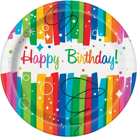 Rainbow Birthday Paper Dinner Plates, 9in, 8ct