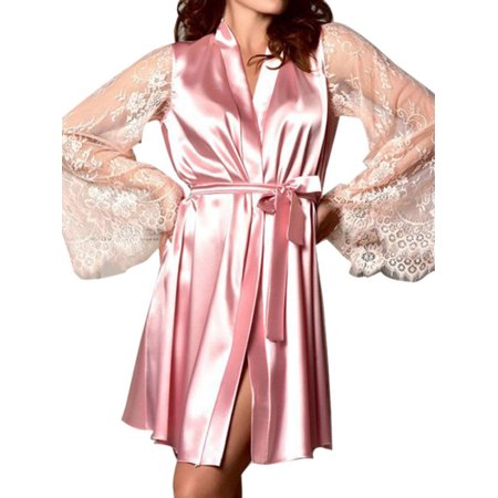 Fysho Women Satin Sexy Floral Lingerie Long Sleeve Silk Lace Robe Sleepwear Nightdress Nightgown](Long Stripper Gowns)