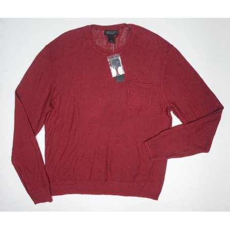 New Bloomingdales 100  Linen Clay Red Knitted Crewneck Sweater W Pocket Size Xl