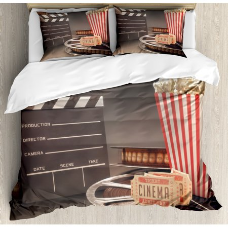 Fashion Duvet Covers (Movie Theater Duvet Cover Set, Old Fashion Entertainment Objects Related to Cinema Film Reel Motion Picture, Decorative Bedding Set with Pillow Shams, Multicolor, by)