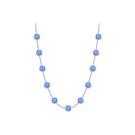 Blue Created Sapphires Necklace on 14K White Gold Bezel Set 3.00 ct.tw - image 1 of 2