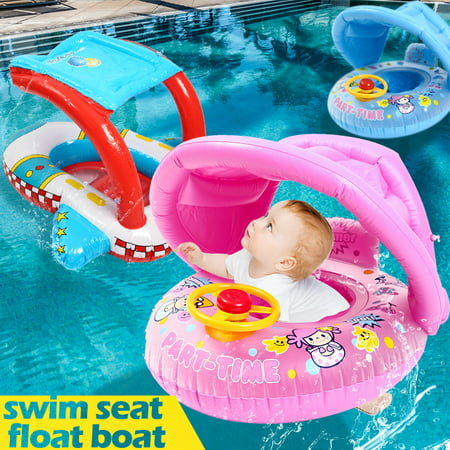 Mrosaa Baby Kids Safety Swimming Ring Inflatable Beach Pool Swim Float Sunshade Seat ()