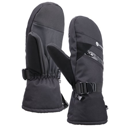 Men's C-100 Thinsulate Lining Ski Gloves Snow Mittens, Black, L/XL ()