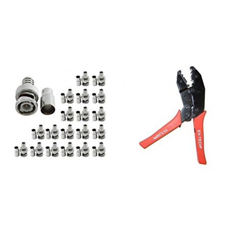 Bnc Crimp Tool - Evertech Professional Coaxial Crimping Tool + 20 Pcs BNC Male Crimp On Connector for Siamese RG59