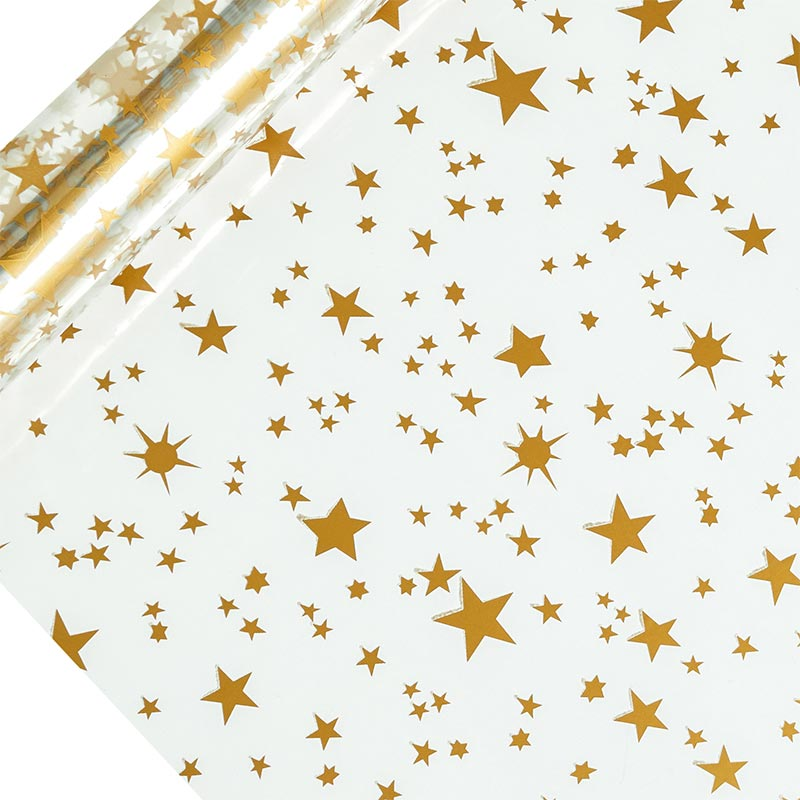 "Gold Stars Printed Cellophane 30"" X 100' by Paper Mart"