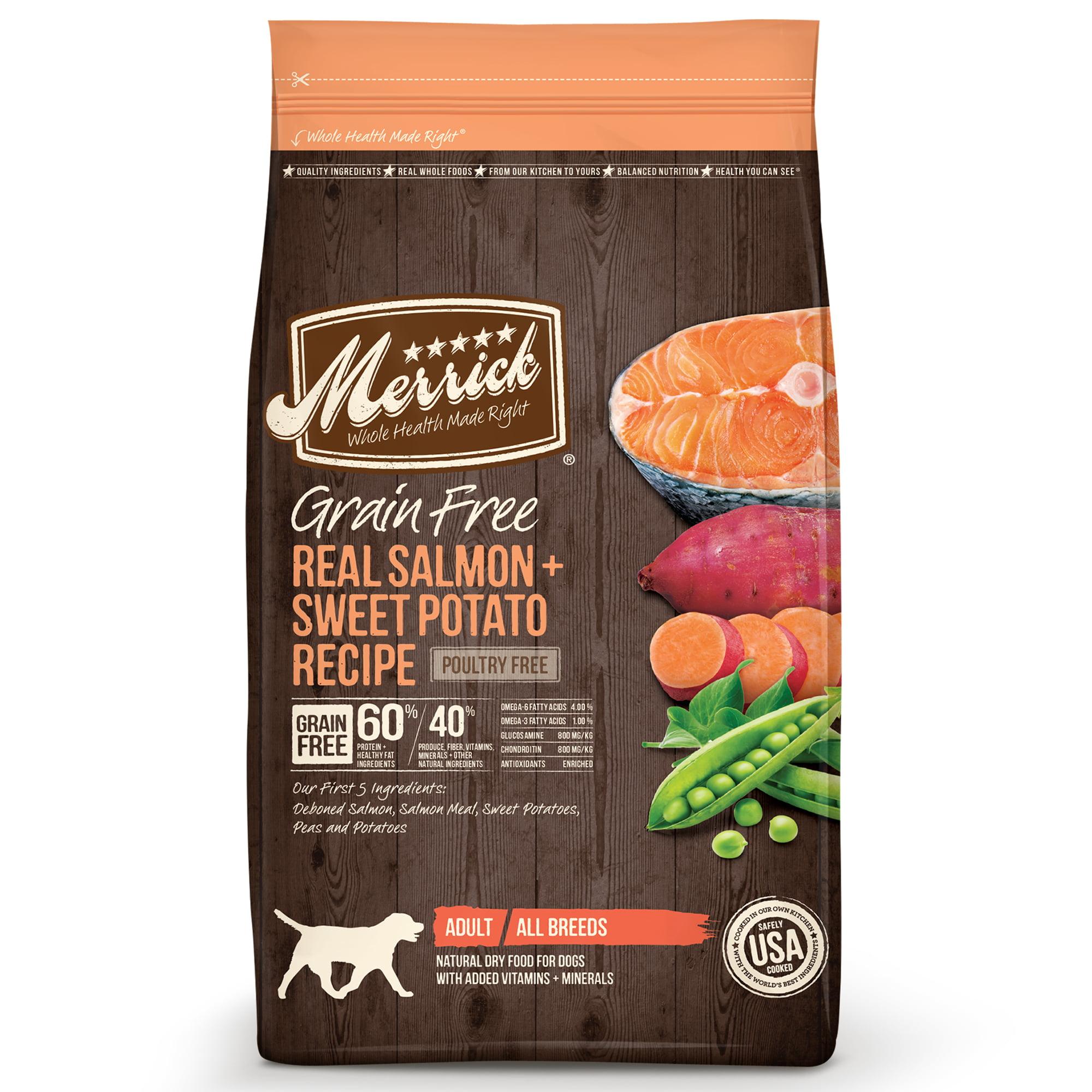 Merrick Grain-Free Real Salmon + Sweet Potato Recipe Dry Dog Food, 12 lb