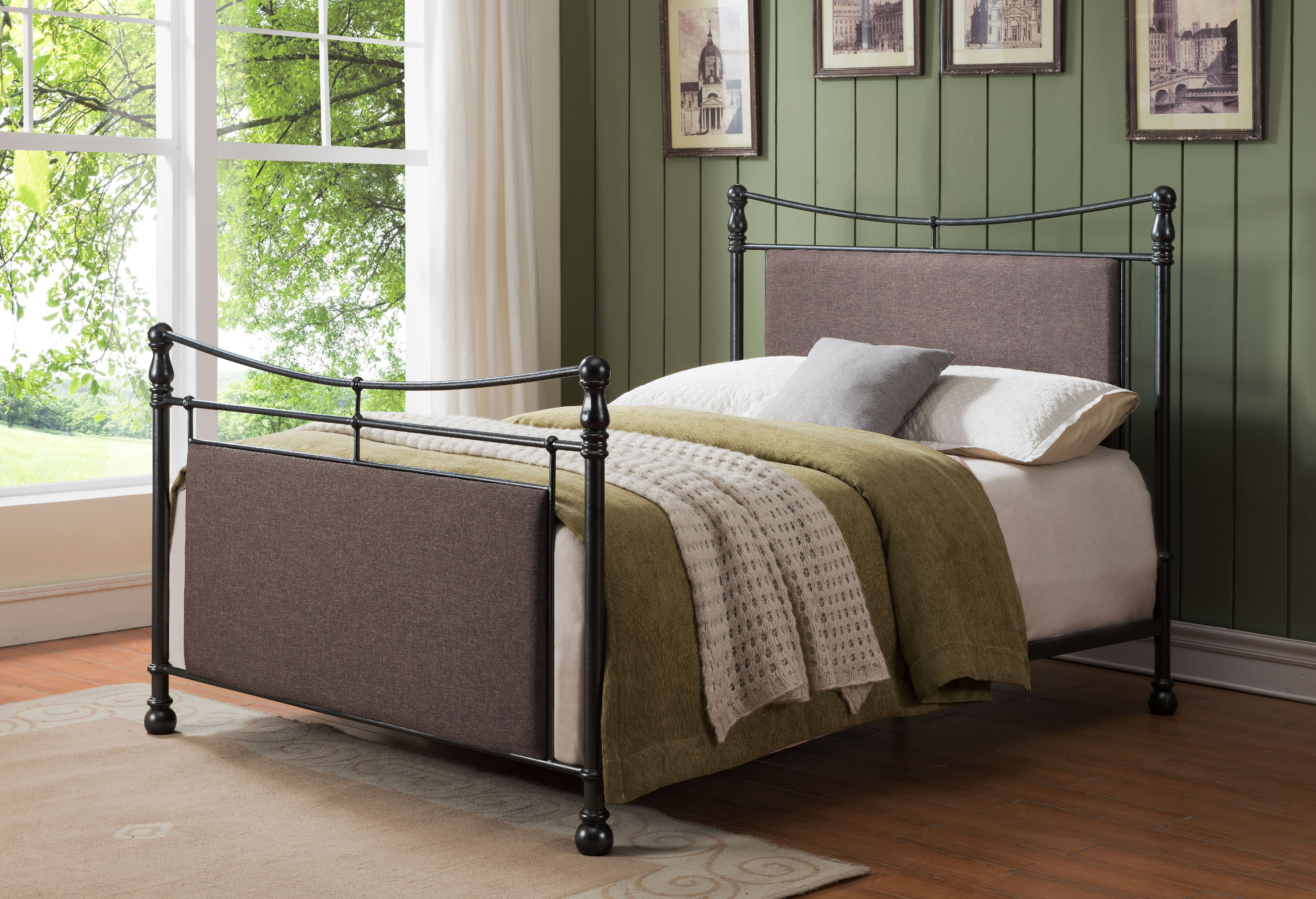Gemma Pewter Brown King Size Upholstered Fabric Metal Bed