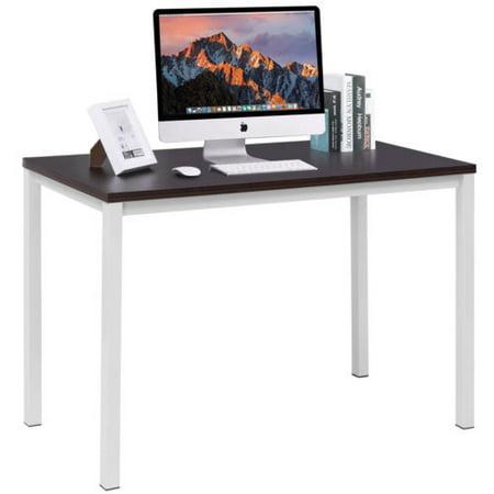 """GHP 47.2""""X23.6""""X29.5"""" Dark Walnut MDF & White Steel Pipe Home Office Computer Desk"""