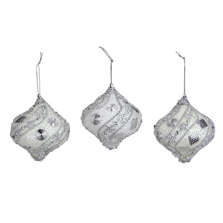 3ct White and Silver Beaded and Glittered Shatterproof Onion Christmas Ornaments 3