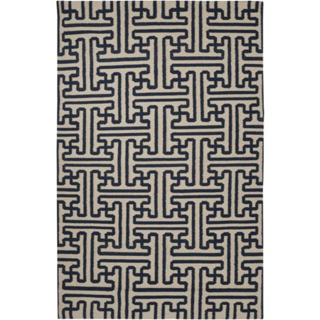 2' x 3' Block Pillars Mossy Gold and Dark Slate Blue Wool Area Throw Rug ()
