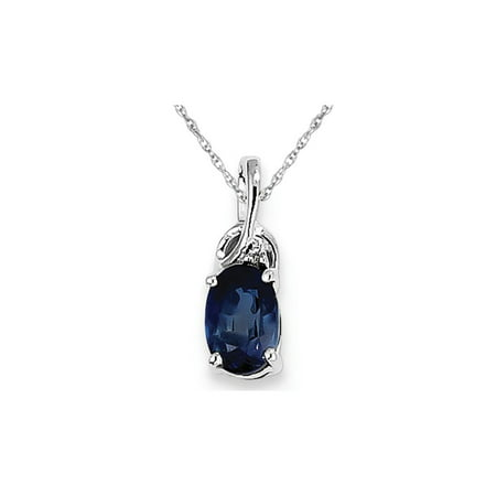 2/3 Carat (ctw) Natural Blue Sapphire Drop Pendant Necklace in Sterling Silver with Chain