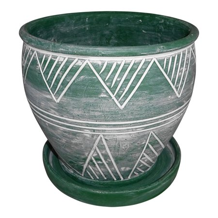 Planter Flower Plant Pot Green Garden Outdoor Terracotta 8.5x8.5 Geometric Style