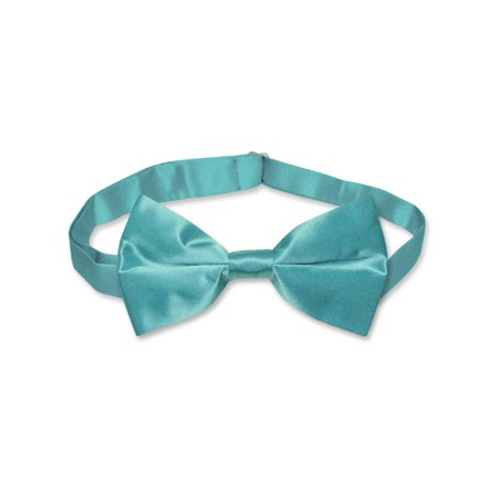 BIAGIO 100% SILK BOWTIE Solid TURQUOISE AQUA BLUE Men's Bow Tie for Tux or Suit