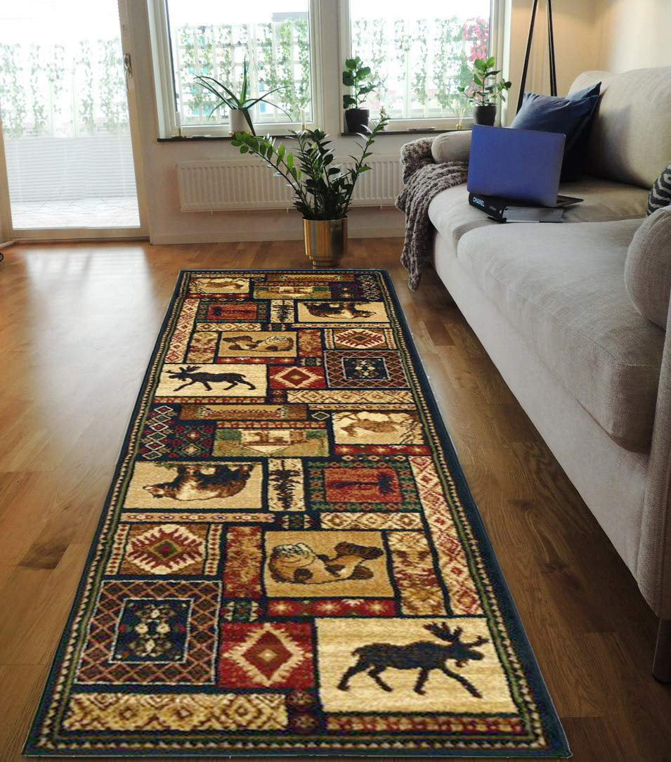 Hr Cabin Collection 906 Nature And Animals Area Rug 2 1 By 7 1 Contemporary Geometric Design Fish Moose Bear Lodge Southwestern Design Ivory Red Green And Multi Walmart Com Walmart Com