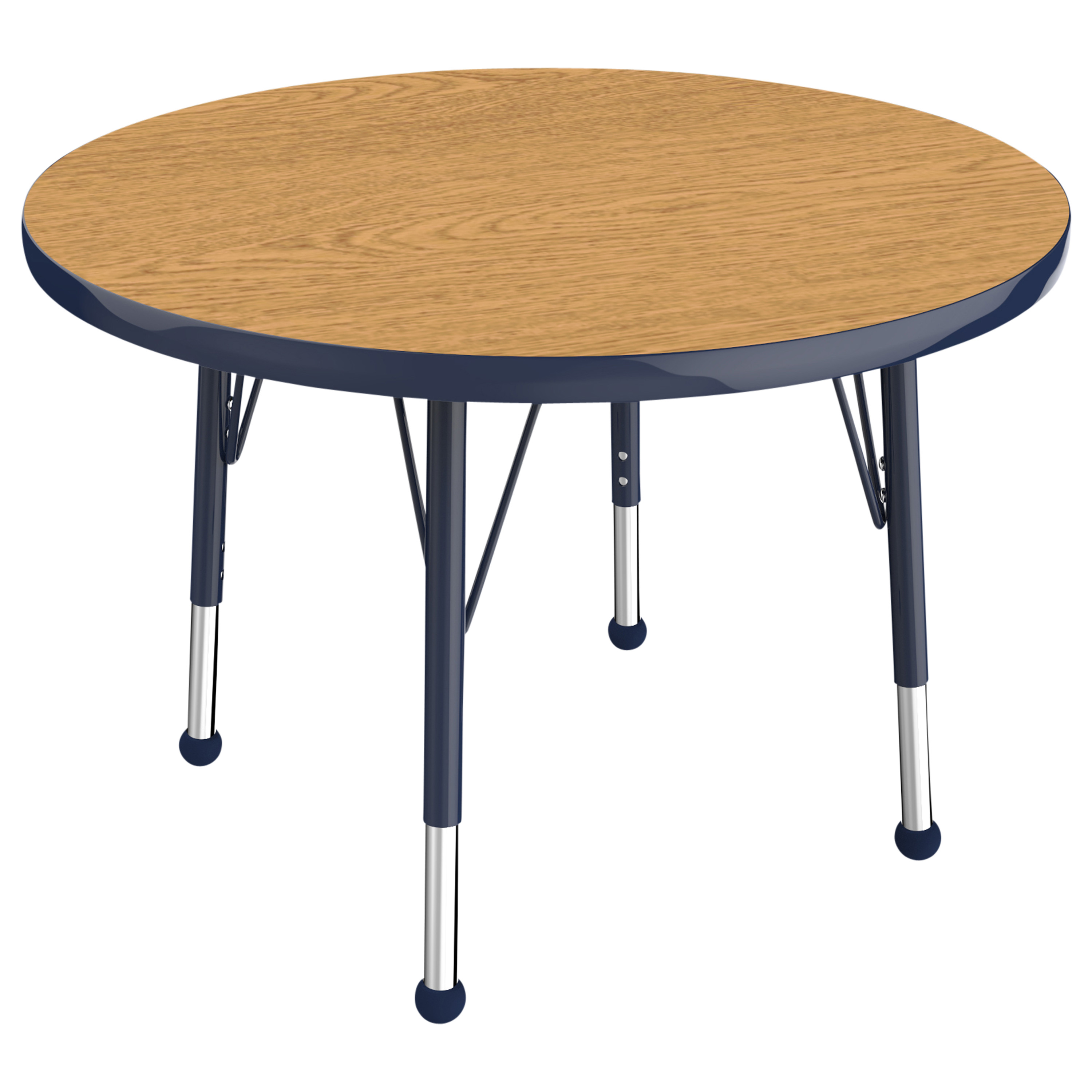 ECR4Kids 30in Round Everyday T-Mold Adjustable Activity Table Oak/Navy - Toddler Ball